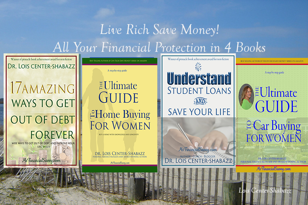 This is the Personal finance Book Series by Lois Center-Shabazz. Get out of debt, student loans, learn investing, save money.