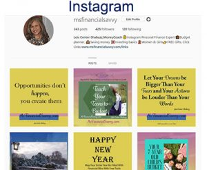 Join me on instagram, handle @msfinancialsavvy